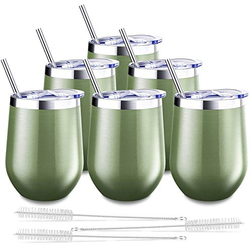 6 Pack Stemless Wine Tumbler, Blingco 12 Oz Stainless Steel Wine Glass with Lids and Straws, Unbreakable Double Wall Vacuum Cup Insulated Wine Mug for Wine, Coffee, Cocktails, Champagne(Green)