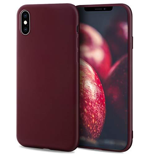 Moozy Minimalist Series Funda Silicona para iPhone X y iPhone XS, Vino Rojo con Acabado Mate, Cover Carcasa de TPU Suave y Fina