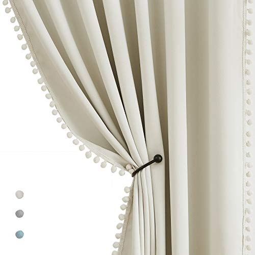 """Pom Pom Curtains for Bedroom Windows 84 inch Energy Efficient Thermal Insulated Living Room Darkening Curtain Panels for Kitchen Nursery Room Ivory 50"""" w x2 Panels Rod Pocket"""