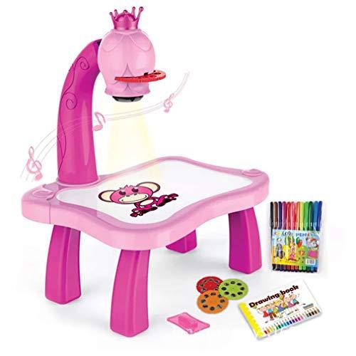 Olddreaming Escritorio de estudio con proyector inteligente, escritorio de dibujo infantil con luz y música, juguetes, colores al azar
