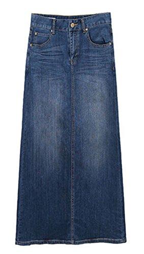 ECOTISH Mujeres Elegante Alta Cintura Denim A-Line Falda Slim Fit cómoda Falda Larga de Mezclilla para Las Damas de Jean Azul Falda lápiz (Large, Azul 2)