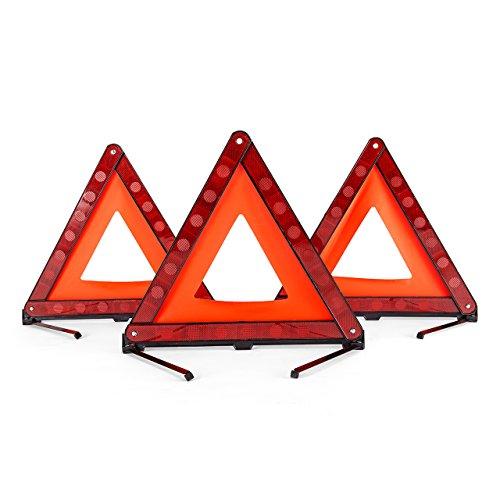 DEDC Lot de 3 Kits d'urgence Triangles de Signalisation Panneau d'Avertissement pour Auto Sécurité Pliable Réfléchissant Universel Plastique