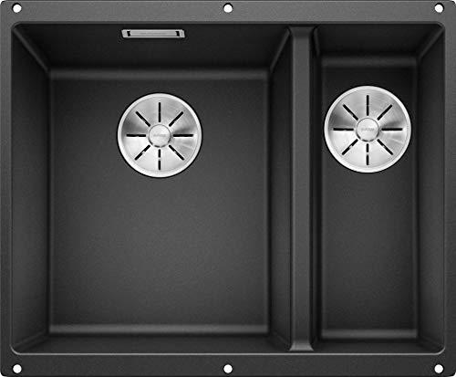 BLANCO SUBLINE 340/160-U – Unterbau Doppelspüle für die Küche für 60 cm breite Unterschränke – aus SILGRANIT – Grau – 523548