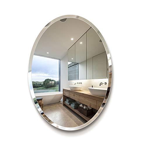 AOIWE Espejo de baño sin marco europeo elíptico borde biselado/espejo de maquillaje de baño – espejo de 5 mm (tamaño: 50 x 70 cm)