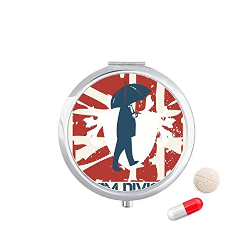 DIYthinker Rood Blauw Man Paraplu Patroon Graffiti Straat Reizen Pocket Pill case Medicine Drug Storage Box Dispenser Spiegel Gift