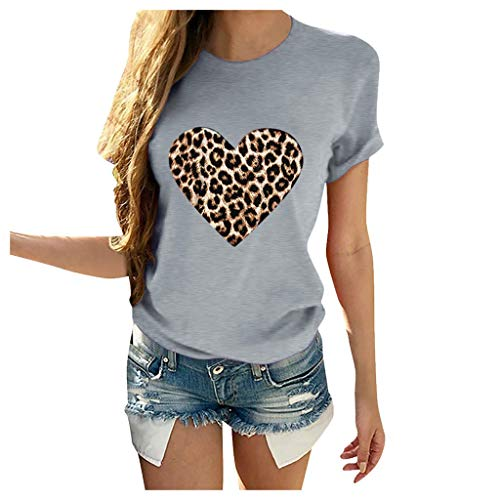 LUDAY Heart Leopard Distressed Print Tongue T-Shirt Short Sleeve Cute Graphic Teen Girls Tee Tops Trendy Graphic Tee Gray