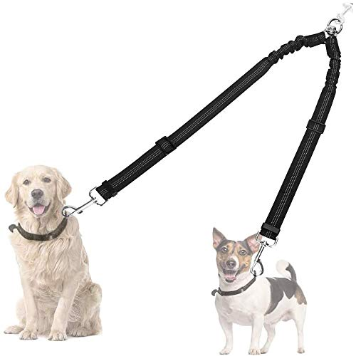 AUTOWT Double Dog Leash, No Tangle 360° Swivel Rotation Reflective Double Lead Adjustable Length Dual Two Dog Lead Splitter, Comfortable Shock Absorbing Walking Training for Two Dogs