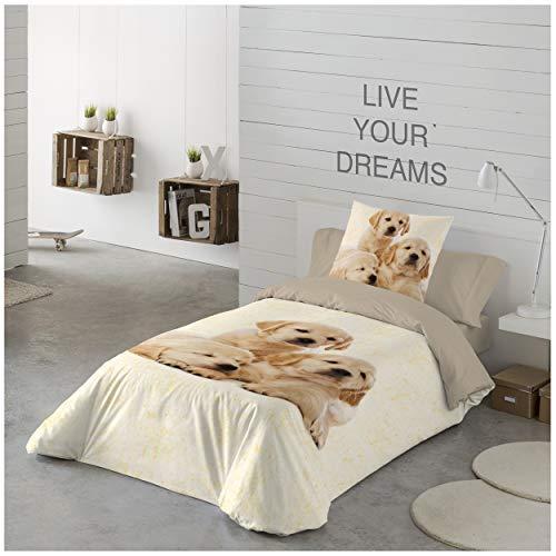 COTTON ART- Funda Nórdica Infantil Golden Puppies Cama de 105 (180X260cm)+ 1 Funda DE Almohada (45X120cm). ALGODÓN 100%.