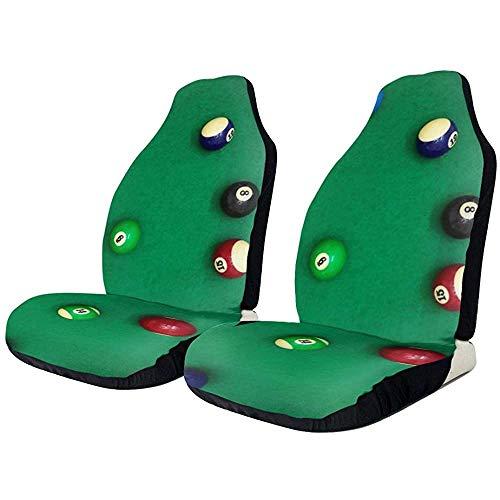 MJDIY autostoelhoes, close-up schot biljart ballen op groene bureau auto stoel beschermer, perfecte voorzijde bestuurder stoelhoezen voor voertuig auto bestuurder 2 stks