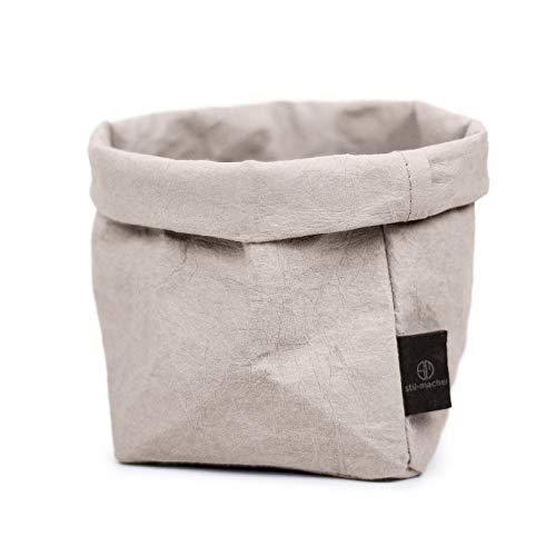 stil-macher Designer Krempelkorb - Gr. M -   Aufbewahrungskorb aus waschbarem Papier   Lederoptik   VEGAN   Deko-Box   Geschenkbox   Übertopf (Grau, Eckig)