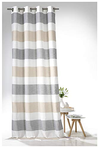 heimtexland ® Ösenschal Leinen Optik Natur Vorhang 245x140 Gestreift Sand Grau Gardine Typ633