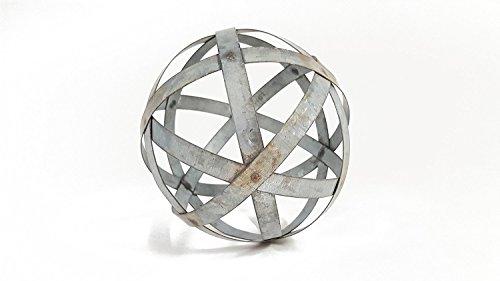 Everydecor Small Galvanized Metal Band Decorative Sphere