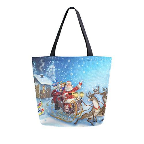 Weihnachtsmann im Schlitten mit Rentier bei Weihnachten Nacht Canvas Tote Bag Große Schultertasche für Damen und Mädchen Einkaufstaschen wiederverwendbar Canvas Handtaschen