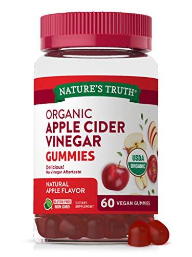 Organic Apple Cider Vinegar Gummies | 60 Count | Vegan, Gluten Free & Non-GMO | USDA Certified Organic | Apple Flavor | by Nature's Truth