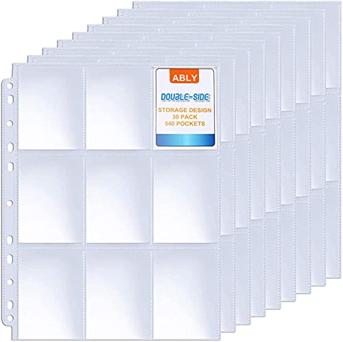 ABLY 540 Pockets Double-Sided Trading Card Pages Sleeves 9-Pocket...