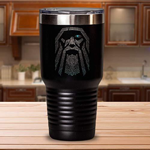 Odin Viking Valhalla Tumbler, Viking Norse Gifts, Vikings Valhalla Travel Mug, Norse Mythology Viking God Travel Mug Double Vacuum Insulated Stainless Steel Tumbler Cups with Lid 12 OZ - 30 OZ