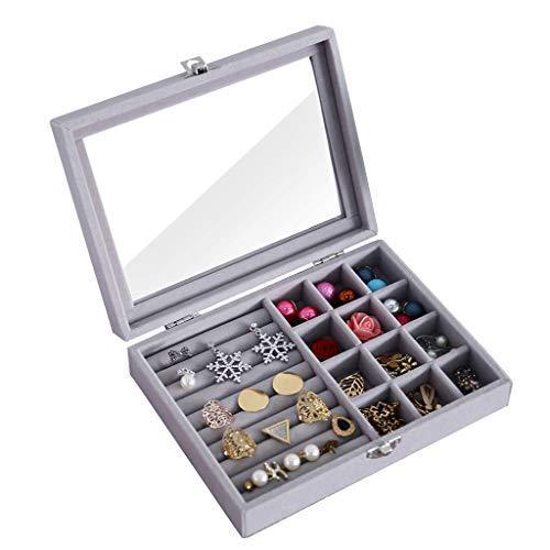 UEK Anillo de joyería de cristal de terciopelo organizador caja bandeja titular pendientes almacenamiento caso - largo 7,9 x ancho 5,9 x alto 2 - C