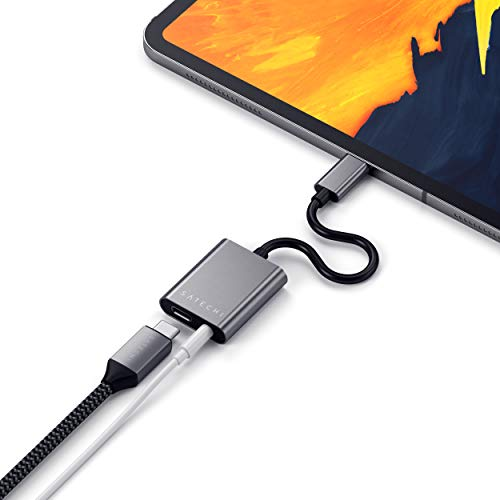 SATECHI Aluminum Type-C zu 3,5mm Audio-Kopfhörer-Anschluss-Adapter mit USB-C PD Charging - Kompatibel mit 2020/2018 iPad Air, iPad Pro, Google Pixel 3/XL/2, Microsoft Surface Go, HTC U11/U12 & mehr