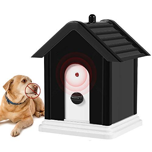 Geohee Anti Barking Device,2020 New Bark Box Outdoor Dog Repellent Device with Adjustable Ultrasonic Level Control Safe for Small Medium Large Dogs, Sonic Bark Deterrents, Bark Control Device
