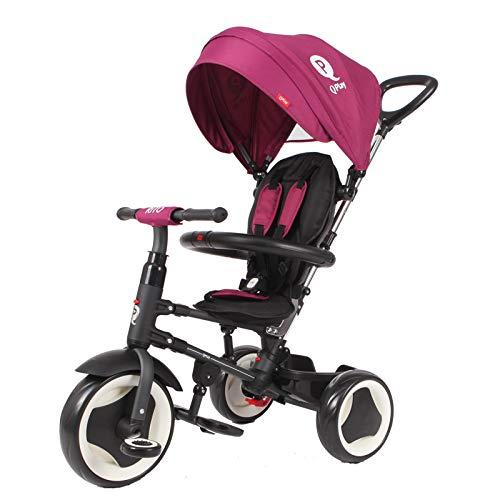 Triciclo Evolutivo Plegable QPlay Rito - Morado - Niños de 10 hasta 36 Meses - Peso soportable hasta 25 Kg