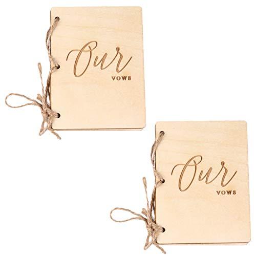 Amosfun 1 Paio di Voti di Matrimonio Libretto Libri di Voti in Legno Rustico Libri Libro Libretto di Amore Voti Promemoria per La Data Del Partito Proposta