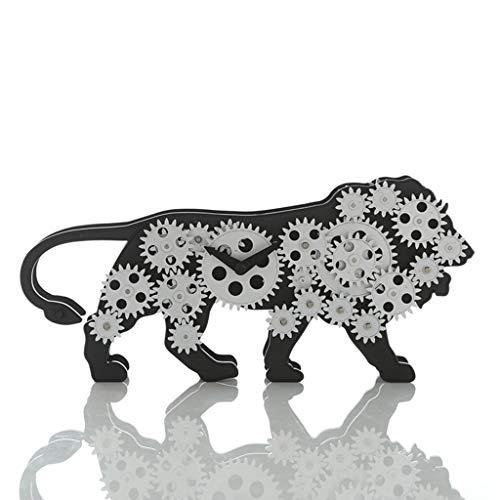 $ Digitaler Wecker Tischuhr Zahnräder Tischuhren Für Wohnzimmer Dekor Nicht Ticking Stille Batteriebetriebene Lion Kreative Dekoration Quarz