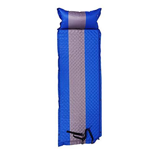 Cojín de camping autoinflables al aire libre grueso portátil a prueba de humedad para el almuerzo, la oficina, la colchoneta de picnic (color azul oscuro)