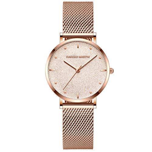 YQCH Reloj de Malla de Acero Inoxidable de Acero Inoxidable de Cuarzo Ultra Rosa Minimalista de Las Mujeres. (Color : A)