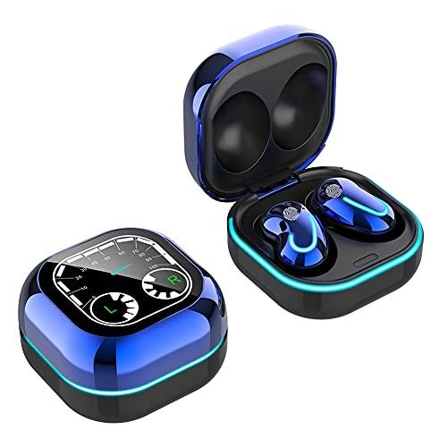 Auriculares inalámbricos Bluetooth 5.1, sonido estéreo, auriculares in-ear, S6 TWS Mini con estuche de carga Mic (azul)