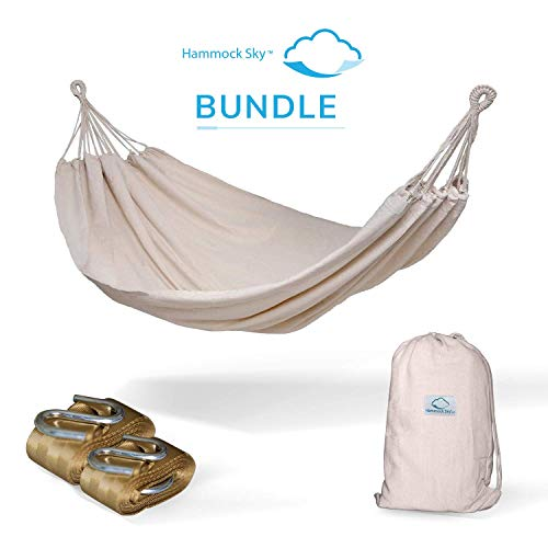 Hammock Sky Brazilian Double Hammock (Natural) with Tree Straps (Gold) - Two Person Hammock with Best Extra Long Hanging Straps
