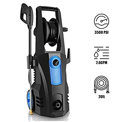 TEANDE 3500 PSI Electric Pressure Washer, 2.60 GPM 1800W Power Washer with Rolling Wheels