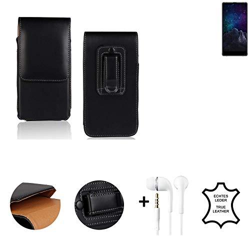 K-S-Trade® Leder Gürtel Tasche + Kopfhörer Für M-Horse Pure 2 Seitentasche Belt Pouch Holster Handy-Hülle Gürteltasche Schutz-Hülle Etui Schwarz 1x