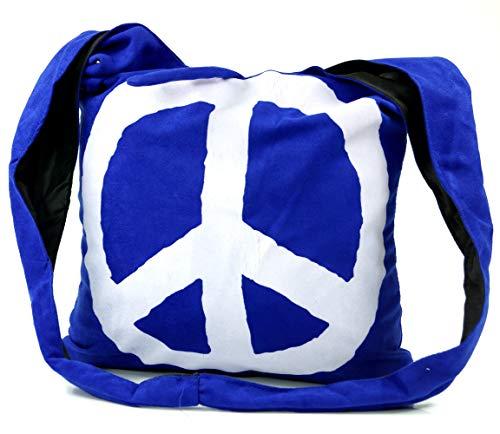 Guru-Shop Sadhu Bag Peace Hippie Tasche, Goa Schulterbeutel - Blau, Herren/Damen, Synthetisch, Size:One Size, 30x35x20 cm, Bunter Stoffbeutel