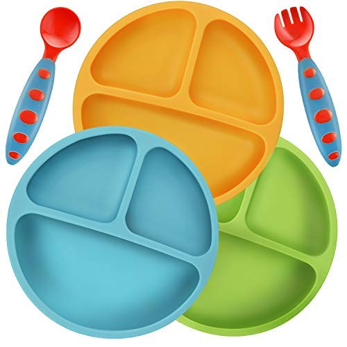 PandaEar - Platos de silicona irrompibles divididos para bebés y niños pequeños, paquete de 3, antideslizantes, aptos para lavavajillas y microondas, silicona, azul, verde, amarillo