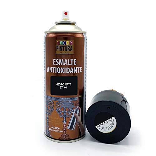 Pintura Spray Negro Mate 400ml ANTIOXIDANTE para metal   anti oxido para metales, hierro, aluminio, acero   Para exteriores - interior aplicación sin imprimacion