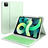 iPad 10.9 inch Case with Keyboard & Pencil Holder, iPad 7 Color Backlit Keyboard - Slim Leather Folio Smart Cover