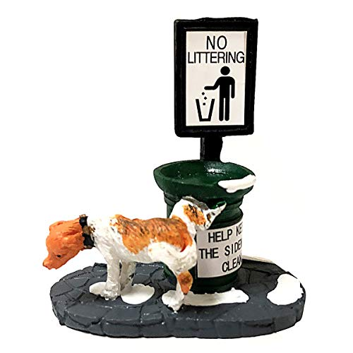 Christmas Villages Collection Puppy Peeing on The Litter Box Christmas Vacation Village Decoration Accessories Resin Statues Christmas Scene Snow Decor