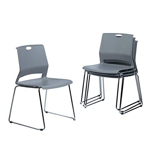 Sidanli Gray Stackable Chairs, Modern Waiting Room Chairs (Set of 4)