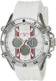 U.S. Polo Assn. Reloj de cuarzo para hombre, acero inoxidable, correa de goma, blanco, 23 (modelo: US9530)