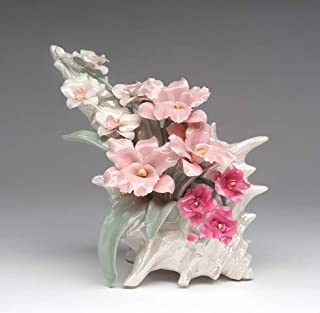 Cosmos Gifts Fine Porcelain Seashell with Orchid Flower Musical Music Box (Wind-Up Music Tune: Moonlight Serenade), 8-1/4