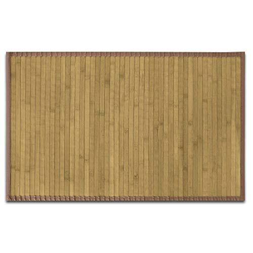 casa pura Tapis de Salon Bambou hypoallergénique | Chambre, Couloir, Cuisine | Rebord Marron Clair, 120x180cm