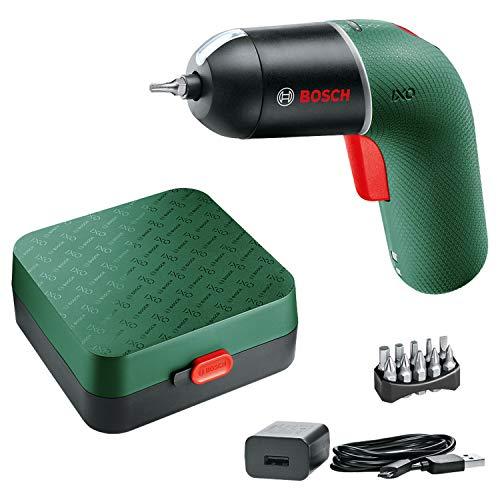 Bosch atornillador a batería IXO 6.ª generación, verde, CONTROL DE VELOCIDAD variable, recargable con cable micro-USB, en estuche