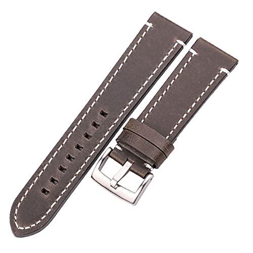 HANLILI kasu Cuerdas de Reloj de Cuero Genuino 18 mm 20 mm 22 mm 24 mm Negro marrón Oscuro Mujeres Hombres Hombres de Cuero de Vaca cinturón de Correa con Hebilla