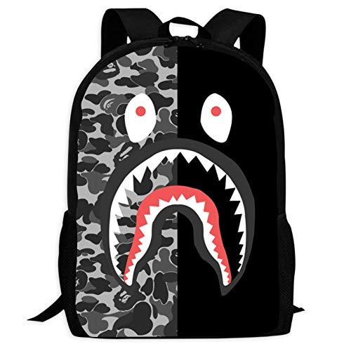 B-ape Shark Fully Printed Backpacks Multi-Function Laptop Shoulder Bag College School Bookbag for Boys Girls