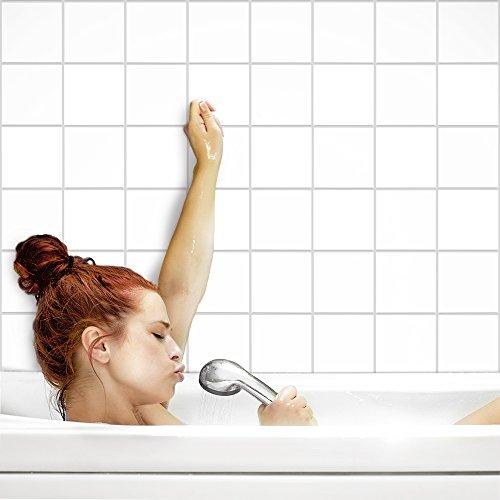 PrintYourHome Fliesenaufkleber für Küche und Bad | einfarbig weiß matt | Fliesenfolie für 15x15cm Fliesen | 52 Stück | Klebefliesen günstig in 1A Qualität