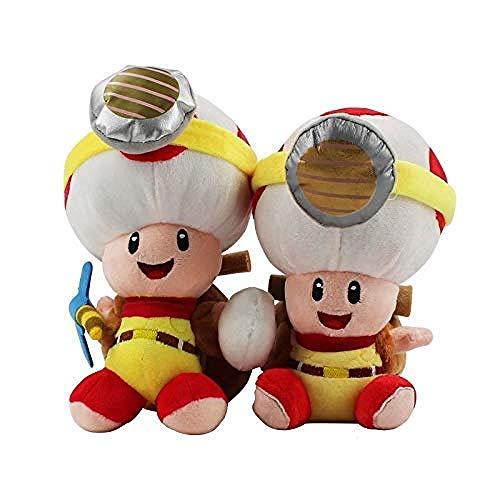 NC88 Super Mario Toys 2 Einheiten Captain Toad Treasure Tracker Plüsch Gefüllte Puppenkröte mit Kinderetikett