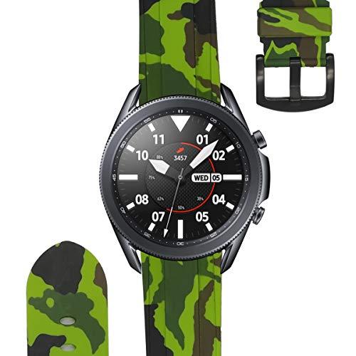 ESTUYOYA - Pulsera de Silicona Compatible con Samsung Galaxy Watch 3 45mm / Gear S3 Frontier/Classic/Camuflaje del Ejercito Tacto Suave Estilo Militar Correa 22mm - Verde