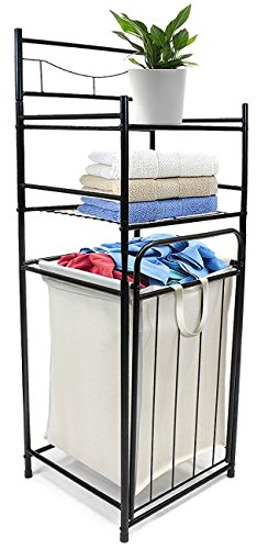 Sorbus Bathroom Tower Hamper Organizer - Features Tilt Out Laundry Hamper and 2-Tier Storage Shelves - Great for Bathroom, Laundry Room, Bedroom, Closet, Nursery, and More