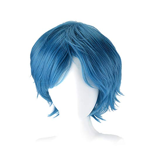 GOOACTION 30cm Women Short Anime Natural Straight Blue Layered Wig with Bangs for Sailor Mercury Ami Mizuno Halloween Cosplay Synthetic Hair Wigs
