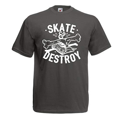 lepni.me Camisetas Hombre ¡Patina y destruye! Regalo para Patinadores, Amantes del Skate (XX-Large Grafito Multicolor)